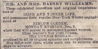 Mr. and Mrs. Barney Williams to appear at Niblos Garden in New York City