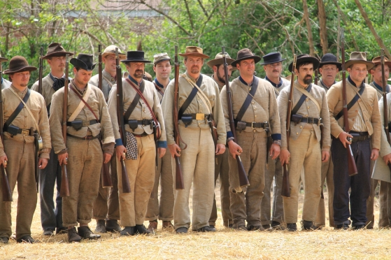 Confederate Civil War reenactors at Franklin, April 2010.